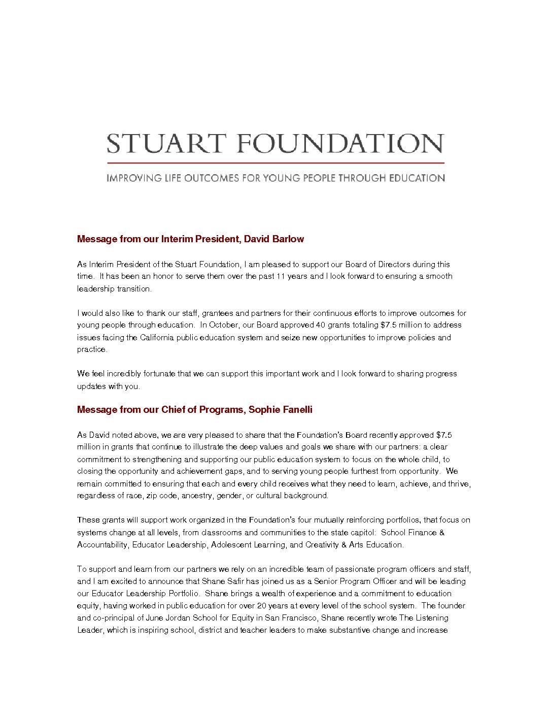 Stuart Foundation Fall 2018 Update - Stuart Foundation